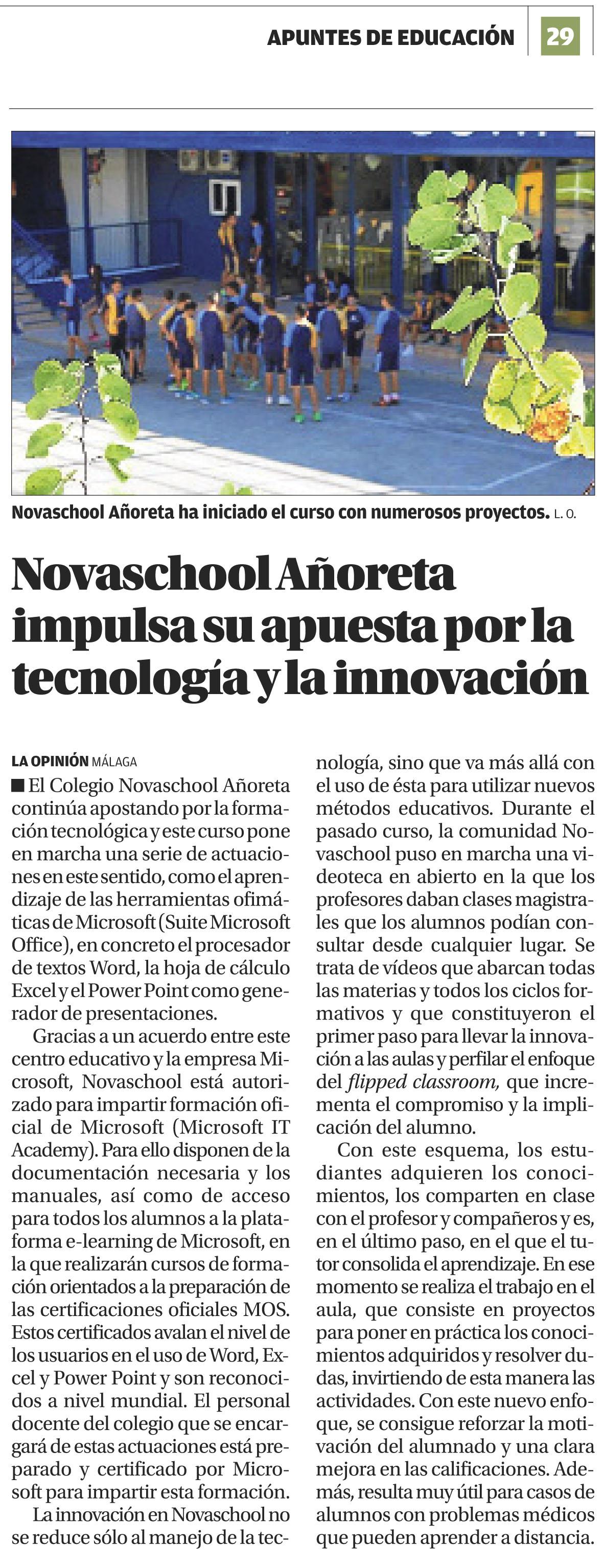 Noticia Novaschool en La Opinión de Málaga