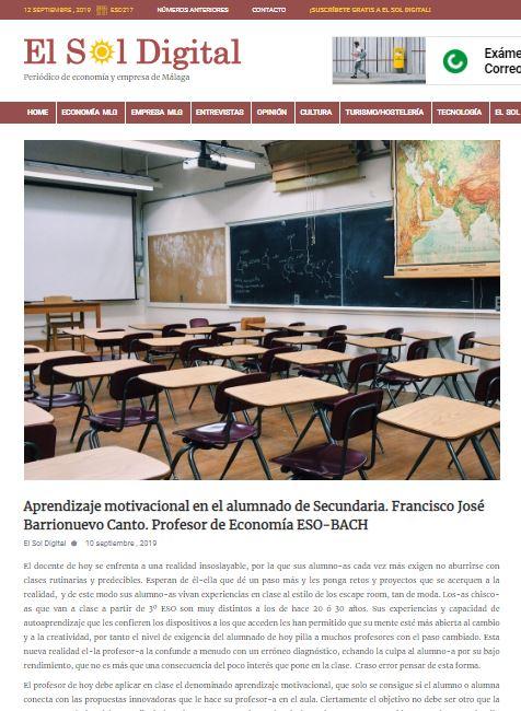 Artículo sobre aprendizaje motivacional de Francisco Barrionuevo