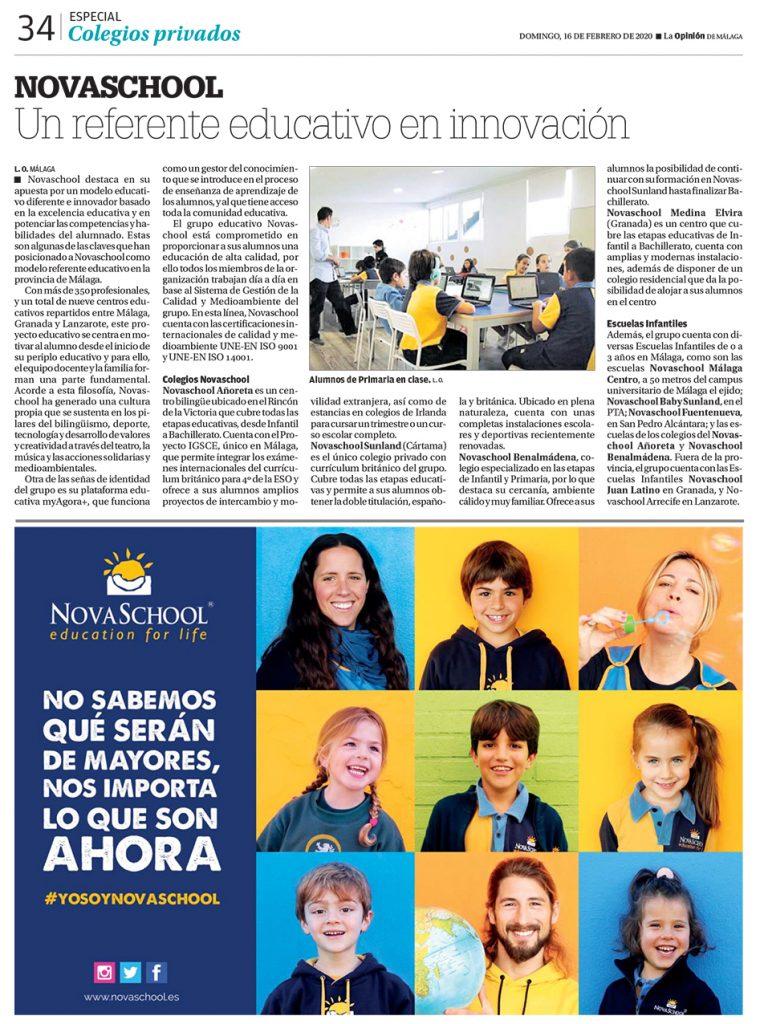 reportaje en La Opinión de Málaga sobre Novaschool como referente educativo en innovación